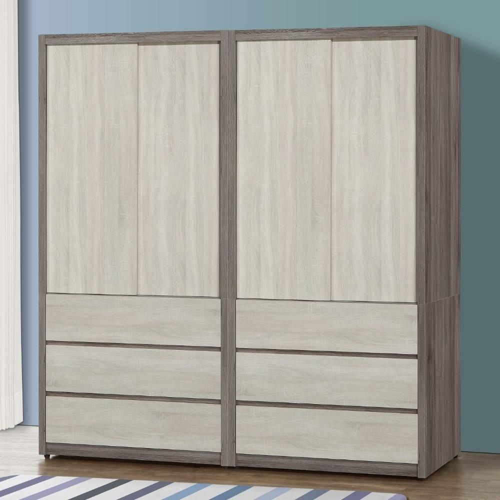 MUNA 莫托斯6.4X7尺灰橡雙色推門衣櫥/衣櫃(共兩色)  194.8X57X199cm