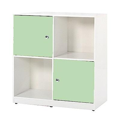 文創集 艾倫環保2.8尺塑鋼二門二格書櫃/收納櫃-85x40x91.5cm-免組