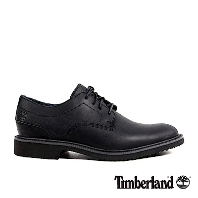 Timberland 男款黑色粒面皮革淺口鞋