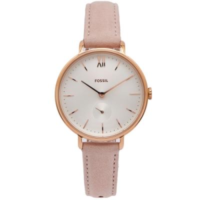 FOSSIL Kalya 小秒針款皮革手錶(ES4572)-銀面X粉色/36mm