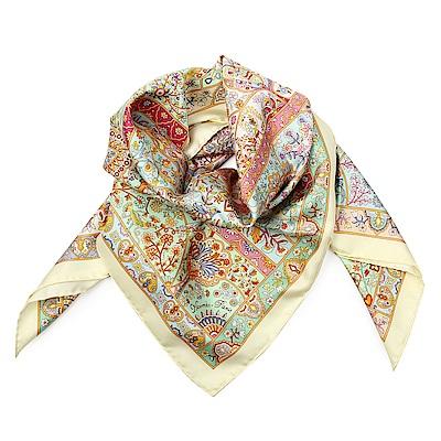 HERMES Pays Des Oiseaux Fleurs 真絲披肩方型絲巾-淺黃色