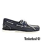 Timberland 女款深藍色異材拼接素面帆船鞋
