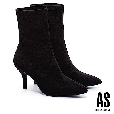 襪靴 AS 華麗暗黑麂布尖頭高跟襪靴-黑