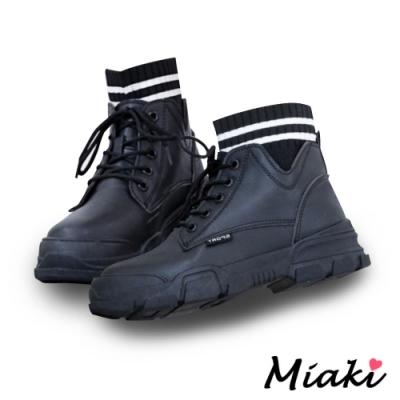 Miaki-短靴韓風厚底襪靴登山靴-黑