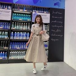 IMStyle 韓版時尚英倫風釦飾吊帶上衣+半裙 兩件式【正品】