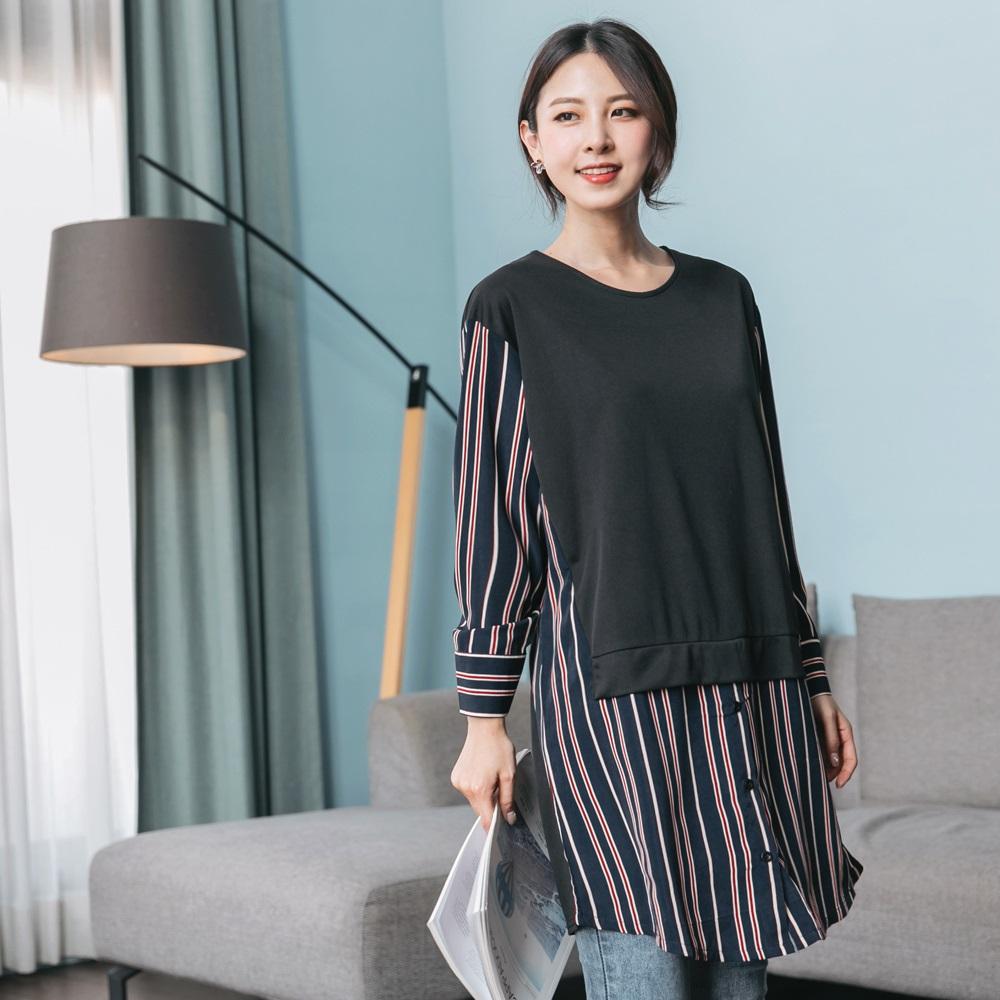 知性條紋韓系假兩件襯衫洋裝/長上衣-OB大尺碼