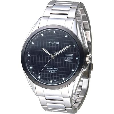 ALBA 黑格紋設計英倫男錶-IP黑框(AS9C77X1)/36mm