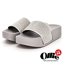 Aviator韓國空運-Ollie連線亮鑽寬帶厚底涼鞋-銀