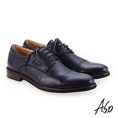A.S.O 菁英霸足 綁帶牛皮奈米紳士鞋 深藍