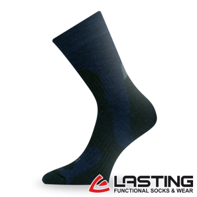 【LASTING捷克】男款美麗諾羊毛抗菌除臭吸濕排汗中筒健行襪/厚襪LT-TRP藍黑