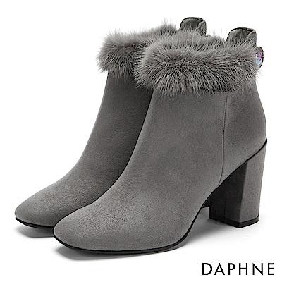 達芙妮DAPHNE 短靴-復古方頭可拆式兔毛粗跟短靴-灰