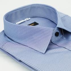 【金安德森】深藍底白條紋黑釦窄版短袖襯衫