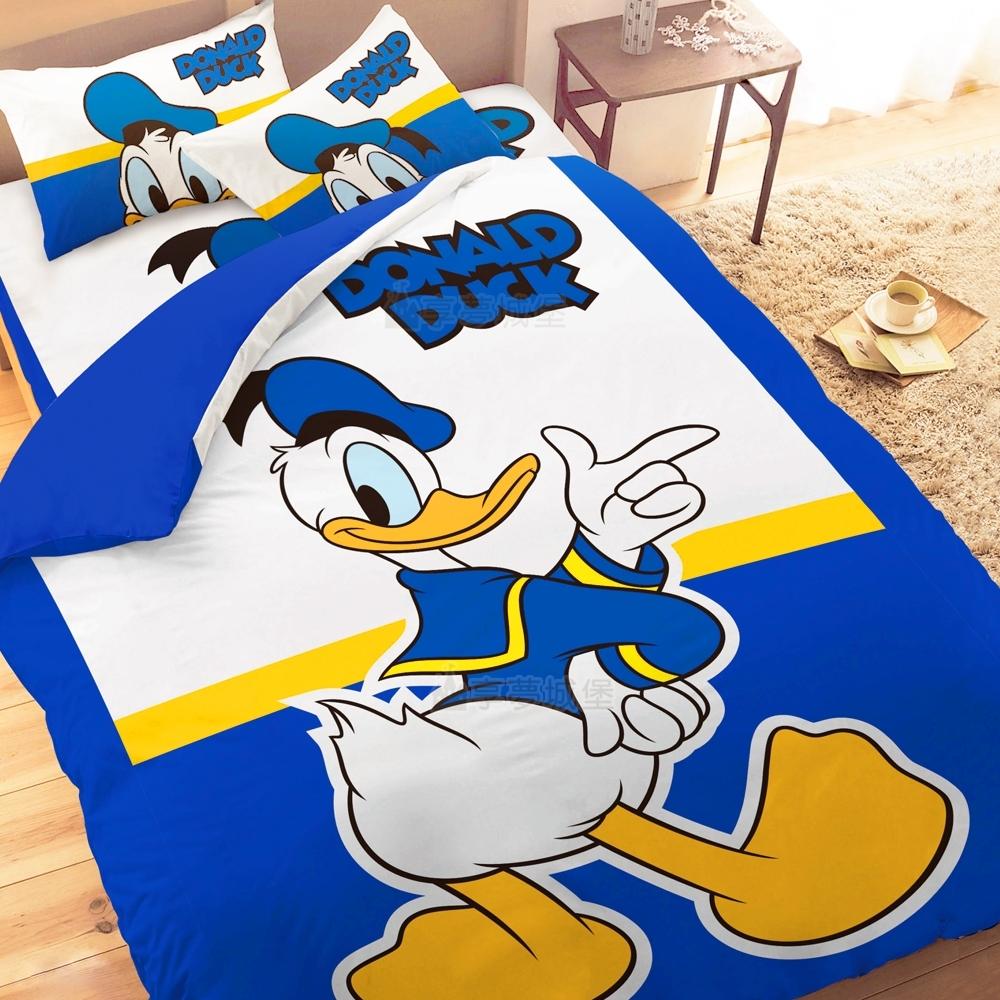 享夢城堡 單人床包雙人涼被三件組-迪士尼唐老鴨Donald Duck 經典-藍