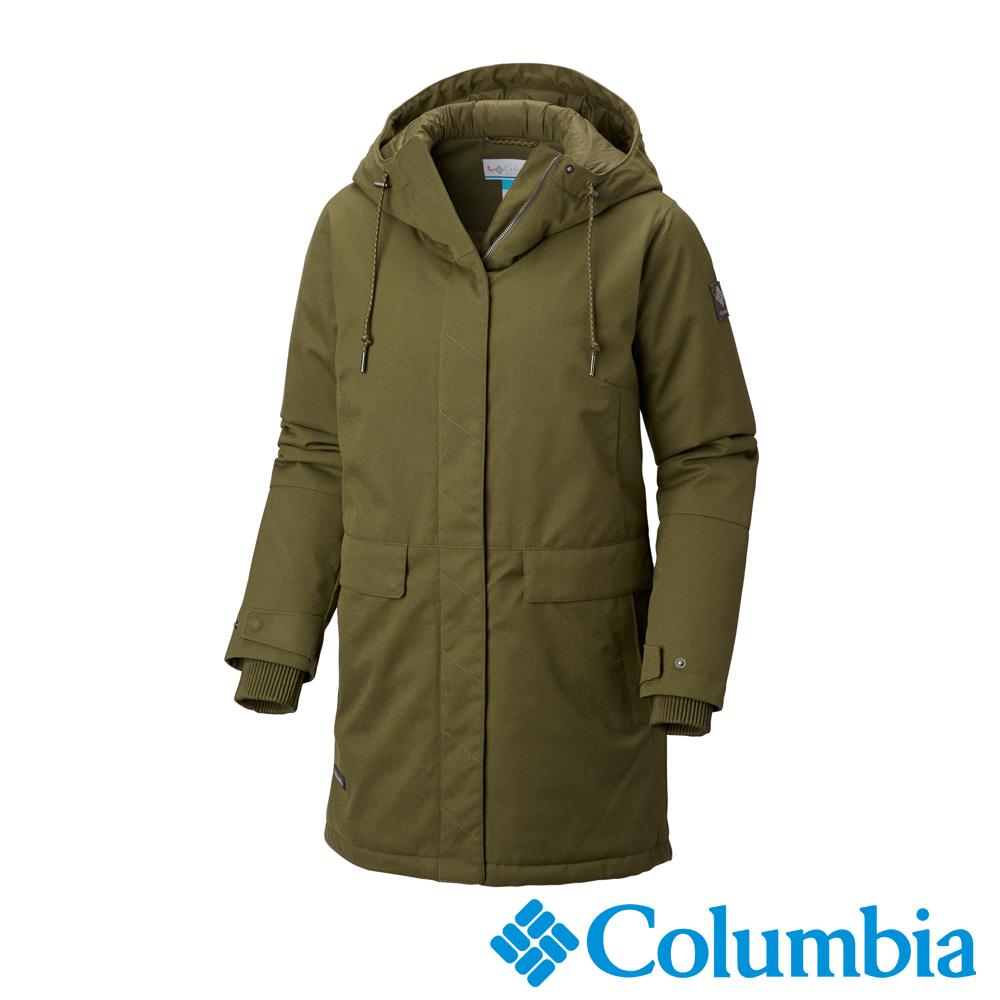 Columbia哥倫比亞 女款-Omni-TECH 防水連帳長外套-棕綠