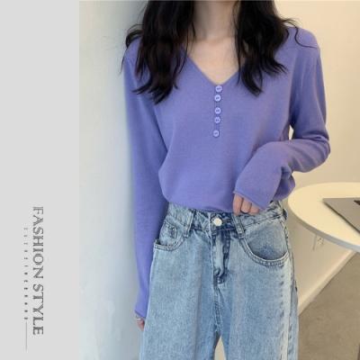 2F韓衣-簡約V領多色素面排扣造型上衣-5色(F)