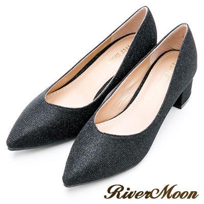 River&Moon大尺碼-璀璨閃耀亮蔥晚宴尖頭鞋-黑