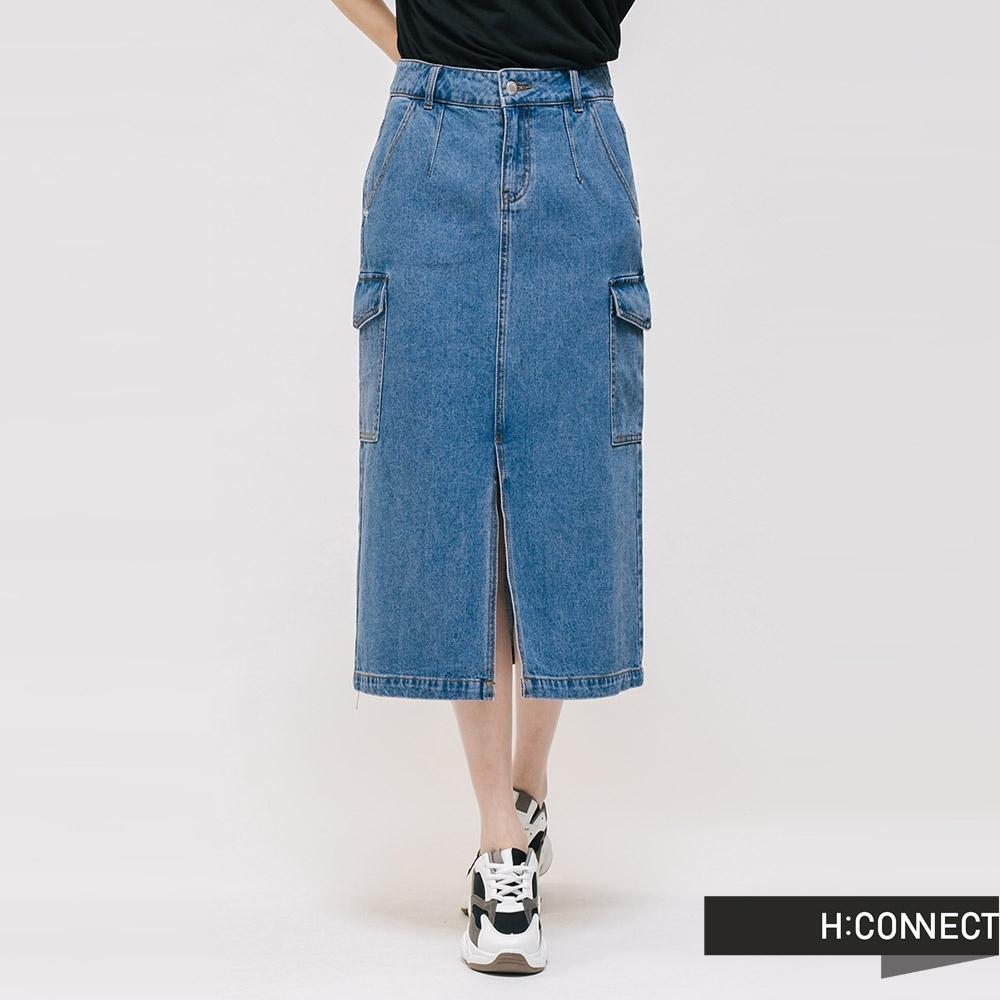 H:CONNECT 韓國品牌 女裝 - 大口袋前開岔牛仔長裙 - 藍