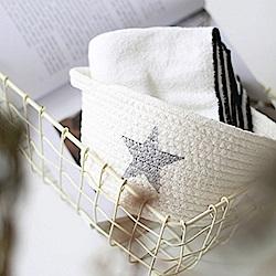 【收納職人】簡約北歐手感棉線編織五角星桌面小物置物籃/收納籃(白底灰星)