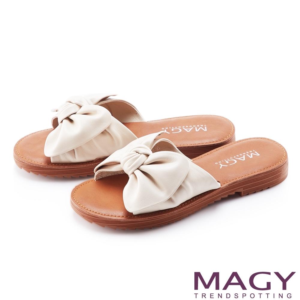 MAGY 大蝴蝶結造型真皮平底 女 拖鞋 米色