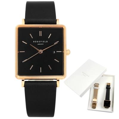 ROSEFIELD 簡約典雅 復古方形 真皮手錶-黑x玫瑰金框 QBRTR-X221 26mm