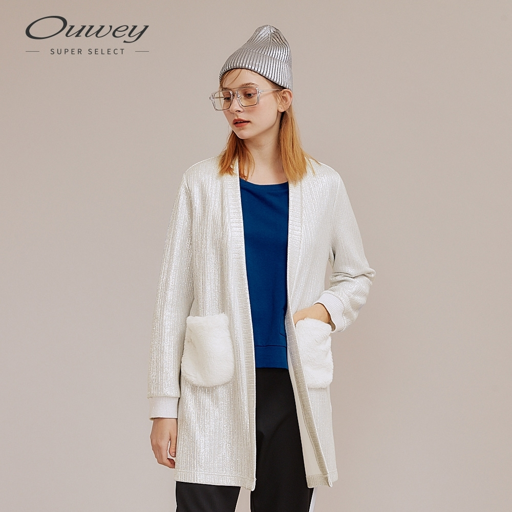 OUWEY歐薇 科技感絨毛口袋拼接開襟外套(銀)