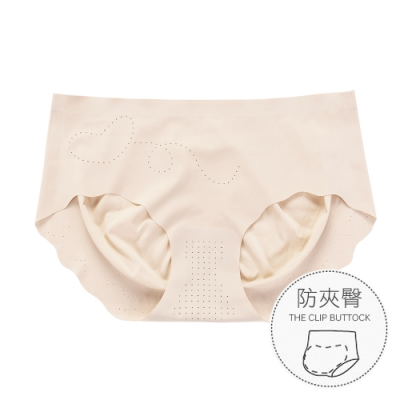 無痕內褲 升級裸感防夾臀冰絲女性內褲 M-XL (米色) alas