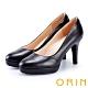 ORIN 展現時尚魅力 後跟金屬條飾羊皮質感高跟鞋-黑色 product thumbnail 1