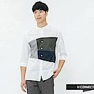 H:CONNECT 韓國品牌 男裝-撞色色塊休閒襯衫-藍