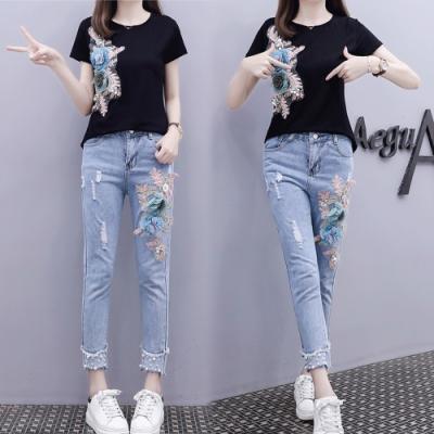 【韓國K.W.】(預購) 韓空運手工百花高工藝牛仔褲套裝
