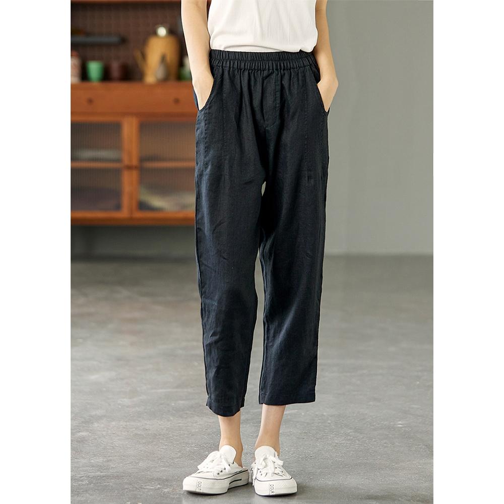 高腰顯瘦亞麻褲內包邊哈倫褲-設計所在 (黑色)