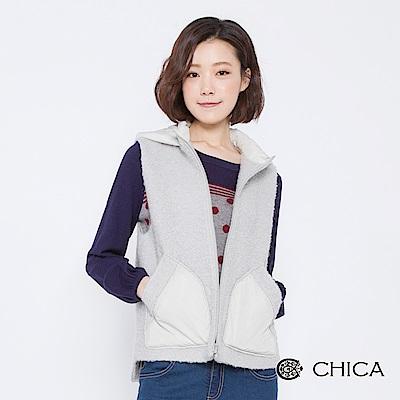 CHICA 樂活冬日圈圈羊毛連帽背心外套(2色)