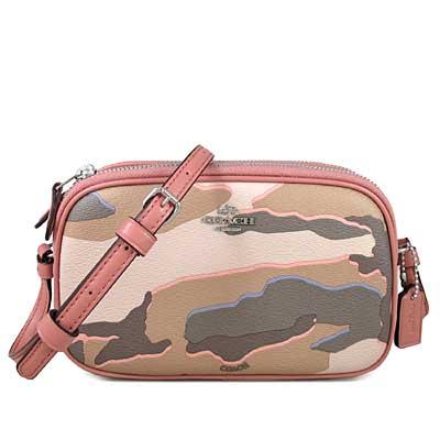 COACH 立體馬車Logo防潑水迷彩紋雙層斜背包(藕粉色-小)