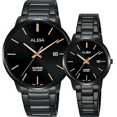 ALBA 雅柏 城市情人時尚對錶(AS9H35X1+AH7R97X1)-40+28mm