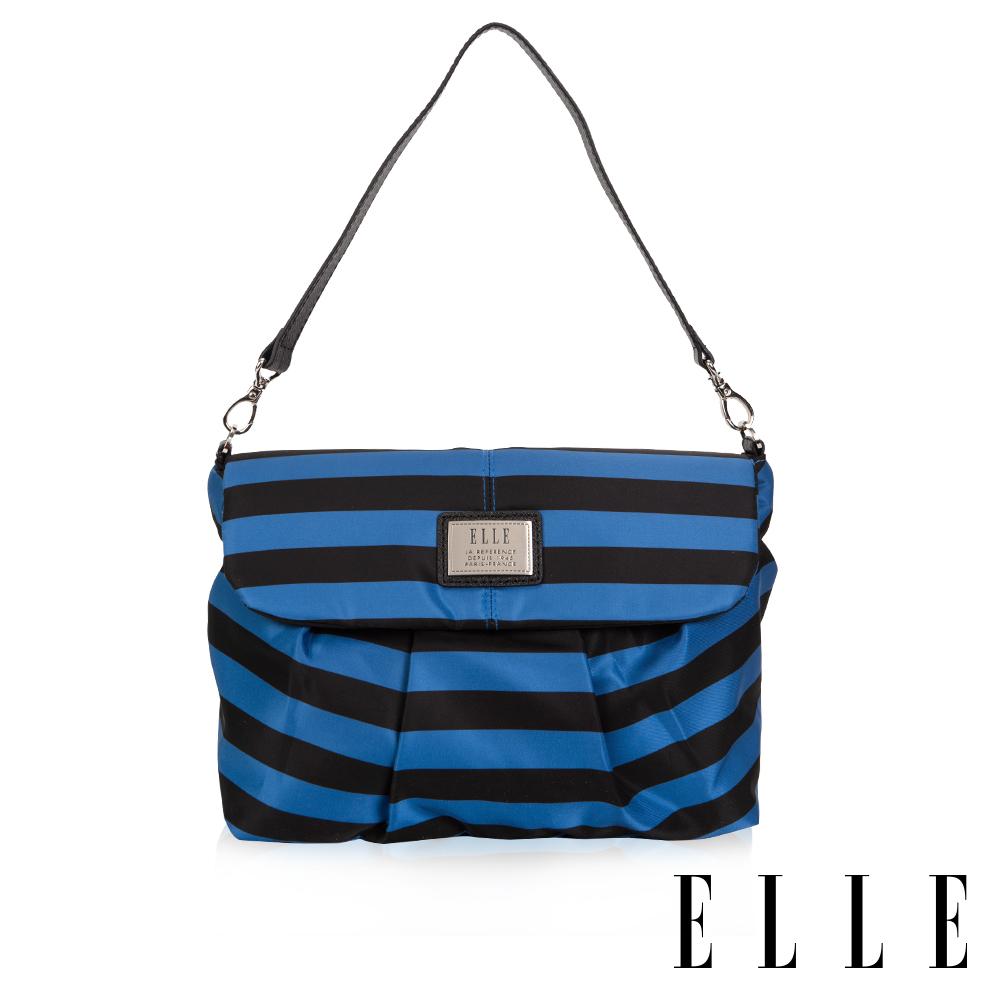 ELLE 法式淑媛海軍風掀蓋磁扣式設計款側背包-藍黑條紋