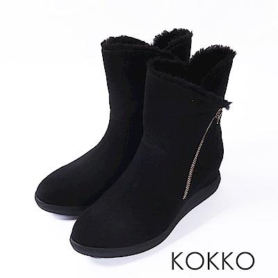 KOKKO- 冬日暖芯真皮內增高2way短靴-經典黑