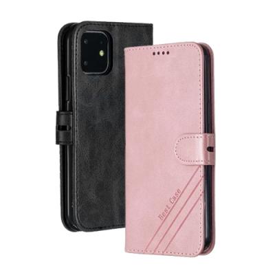iPhone12 / i12 磁吸式 簡約 素色 可插卡 翻蓋 手機 皮套 支架 軟邊 手機殼 保護套 -玫瑰金-i12玫瑰金*1