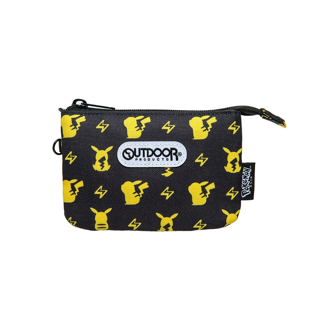 【OUTDOOR】Pokemon聯名款潮黑皮卡丘三層零錢包-黑色 ODGO20B10BK