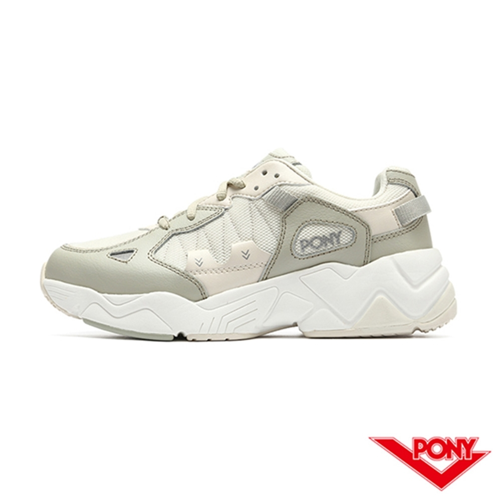 【PONY】MODERN 3系列 車線撞色 復古慢跑鞋 電光鞋 女鞋-卡其色