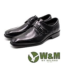 W&M 方頭素面流線魔鬼氈紳士皮鞋 男鞋 - 黑
