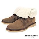 Tino Bellini義大利進口美式休閒翻領綁帶短靴_駝