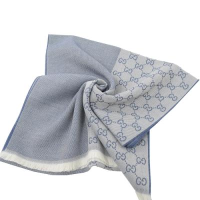 GUCCI 經典G LOGO造型長圍巾/披肩(淺灰藍)
