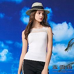 【麥雪爾】水鑽方領蕾絲棉質背心-白