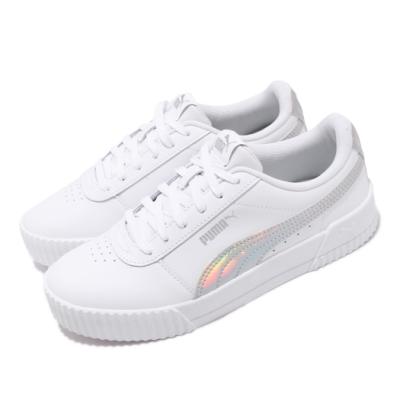 Puma 休閒鞋 Carina Iridescent 女鞋 基本款 簡約 皮革 穿搭 舒適 白 銀  37383401