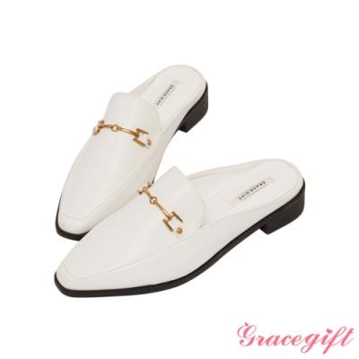 Grace gift-金屬馬銜釦低跟穆勒鞋 米白