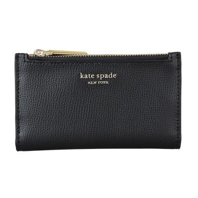 Kate Spade Sylvia金字LOGO荔枝紋牛皮6卡釦式卡片零錢包(黑)