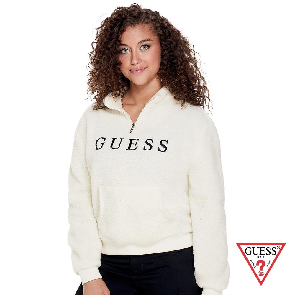 GUESS-女裝-羊羔毛長袖上衣-米白 原價2990