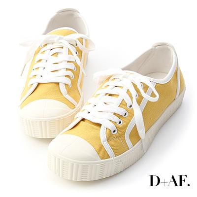 D+AF 潮流風格.圓頭拼色帆布休閒鞋*黃