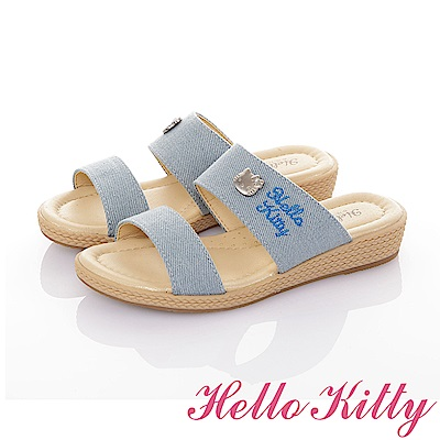 HelloKitty 傳統手工鞋高級超纖減壓防滑氣質拖鞋童鞋-藍