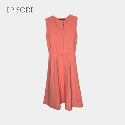 EPISODE - 甜美收腰V領無袖針織洋裝(粉色)