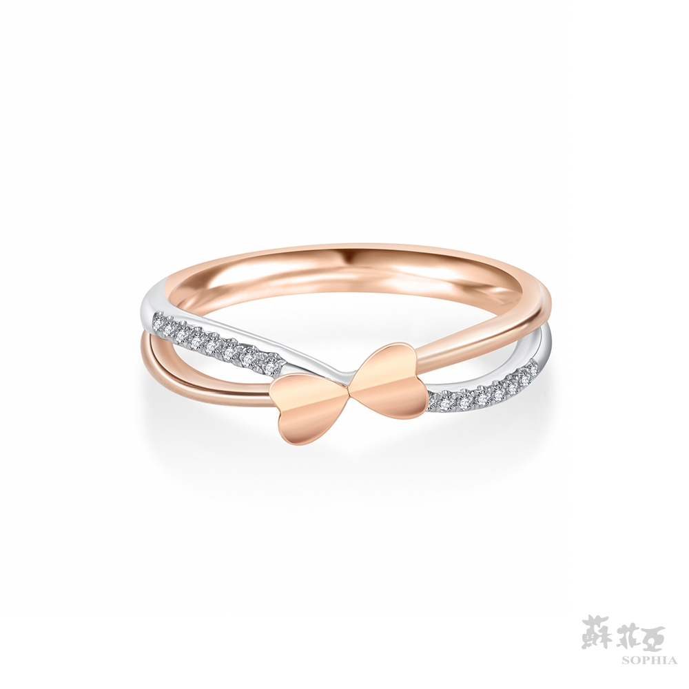 SOPHIA 蘇菲亞珠寶 - 典雅蝴蝶 14K雙色(玫瑰金+白金) 鑽石戒指